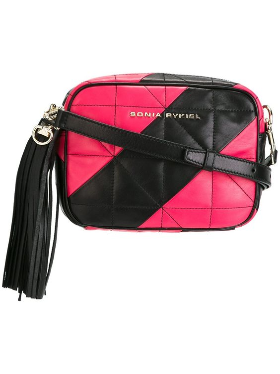 Sonia Rykiel quilted camera bag in Black & Pink
