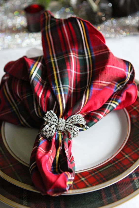 Tartan place setting with a fun rhinestone napkin ring holder.: