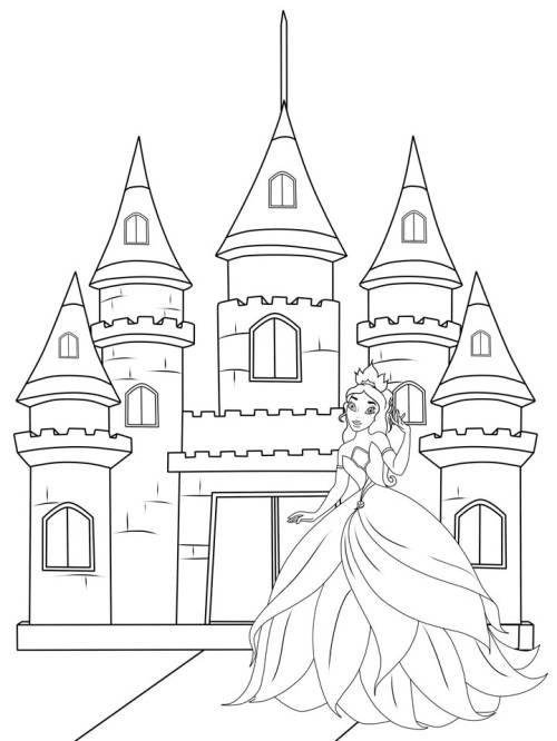 Drucken Sie Das Zauberhafte Ausmalbild Mit Der Prinzessin Vor Ihrem Marchenschloss Fur Ihr Kind Aus Und Reichen Ihm Seine Bunt Ausmalen Ausmalbilder Ausmalbild