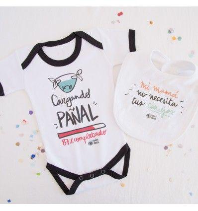 """Este pack de bebé incluye el body de bebé """"cargando pañal"""" y el babero de bebé """"mi mamá no necesita tus consejos"""" de 100% algodón diseñados por Pedrita Parker."""