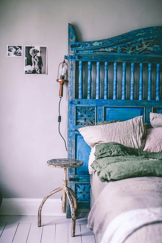 t te de lit romantique dans une couleur pop headboards pinterest bohemian decor the head. Black Bedroom Furniture Sets. Home Design Ideas