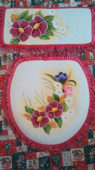 Juego de ba o pintado a mano juegos de ba o primavera - Pintar bano con hongos ...