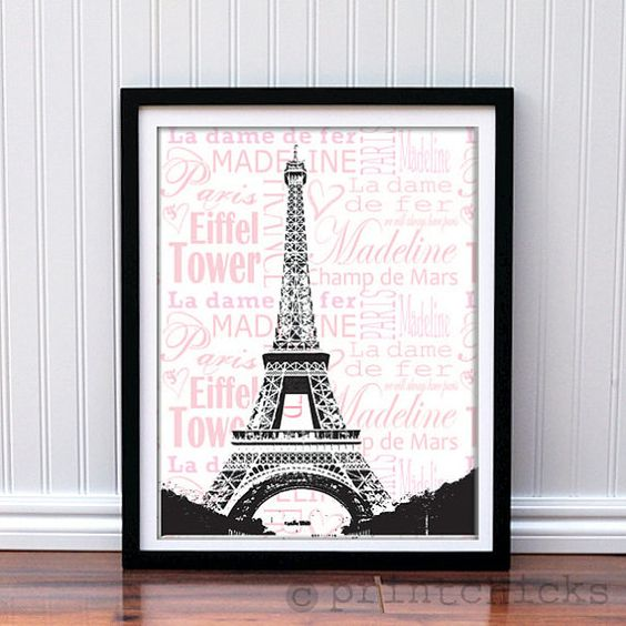 Paris print personalized eiffel tower paris france by printchicks so great for teen girl - Eiffel tower decor for bedroom ...