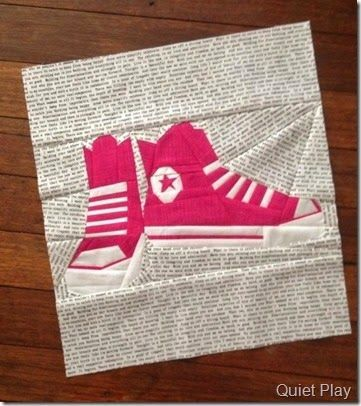 Paper Pieced Converse Shoes by Quiet Play Pattern on Craftsy I've always wanted a shoe quilt...