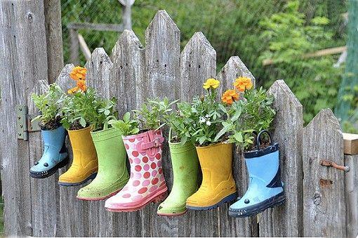 botas de agua macetas