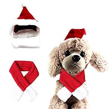 Scarf Set Christmas Costume Puppy Clothes Holiday Decoration Pet Cat Dog Hat