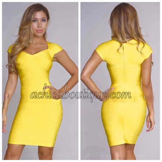 Yellow Cap Sleeve Crossover Bandage Dress perfect for any party or vacation.