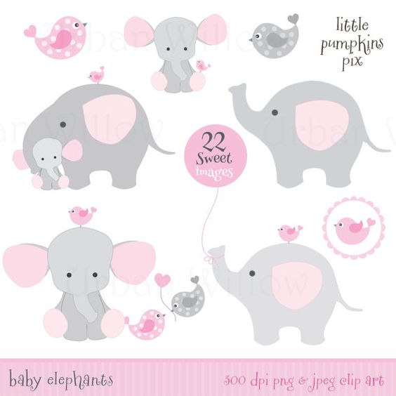 BABY SHOWER ELEPHANTS - Clip art & digital papers set in premium quality 300 dpi, Png and Jpeg files.
