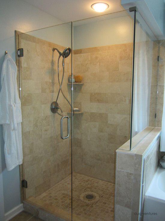 Bathroom tumbled travertine shower bath pinterest for Tumbled marble bathroom designs
