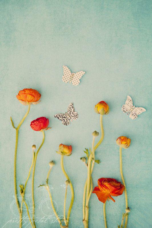 Fine Art Photograph Mixed Media Art Garden Butterflies Red