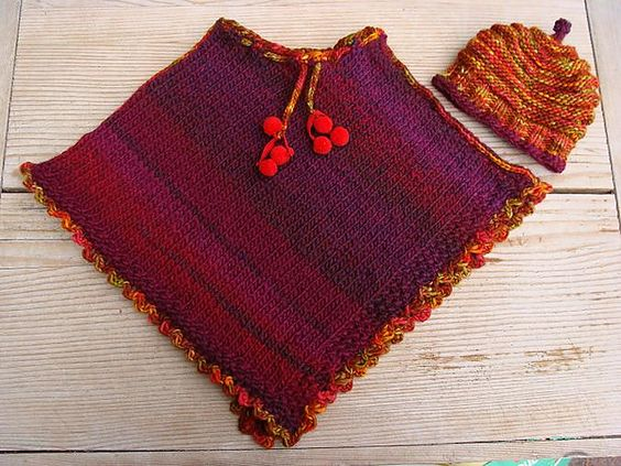Free pattern: little girls poncho: how cute  Free pattern Go to; pinterest.com/... for  2500 and more FREE knit patterns