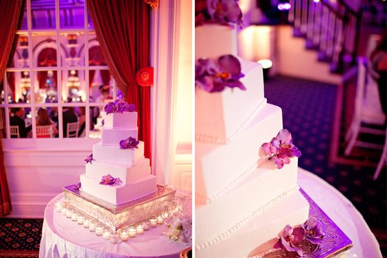 Orchid Wedding Cake.. yes yes yes.. more orchids.. add bling instead of dots to each layer and Walla