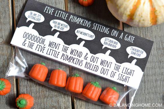 five little pumpkins halloween bag topper printable
