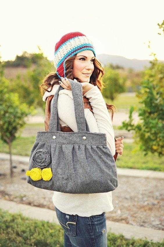 gray wool purse (etsy)