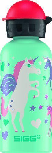 Sigg Unicorn - Botella para niño (aluminio, 0,4 l), diseño de unicornio, color verde