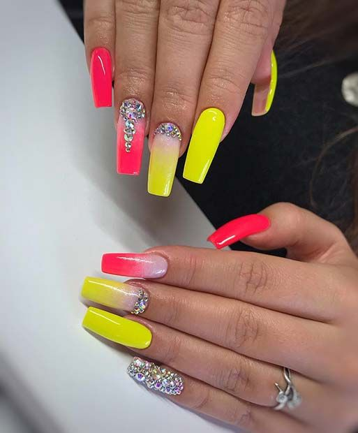 43 Neon Nail Designs That Are Perfect For Summer Page 4 Of 4 Stayglam Neon Nail Designs Pastel Glitter Nails Neon Nails