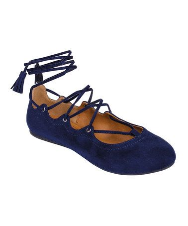 Look what I found on #zulily! Navy Lace-Up Noble Ballet Flat #zulilyfinds