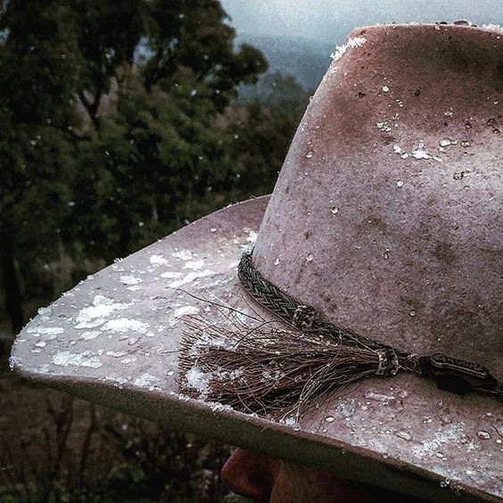 Akubra Hat #snow #southerntablelands #roughrider #coldsnap #binda #winter #akubra by rowena_dean