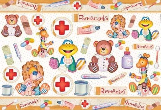 Papel para Decoupage Farmacinha Infantil PD-522 Litoarte - 49 x 34cm - Folhas - Decoupage - Empório Janial