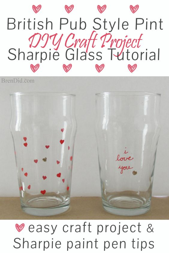 DIY Craft Project: Sharpie Marker Pint Glass Tutorial - Custom stamped English style beer pint glasses for only $1.25 each. Plus a DIY mini eraser stamp tutorial! Uses oil based Sharpie paint pens that are baked on.    Valentine Gift Idea for Men http://brendid.com/diy-craft-project-sharpie-pint-glass-tutorial/