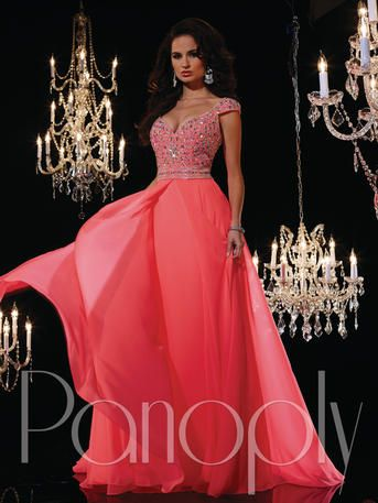 Panoply - 14613   The fabric in this style is Silky Chiffon   http://www.reflectionsbridalandprom.com/detail.php?ProdId=7485561&CatId=17648&resPos=2#subtitle   $388.00