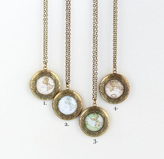 Map Locket Necklace Gift For Traveler World by JacarandaDesigns