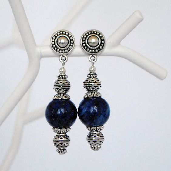 Blue lapis lazuli earrings - Deep Blue Sea Earrings
