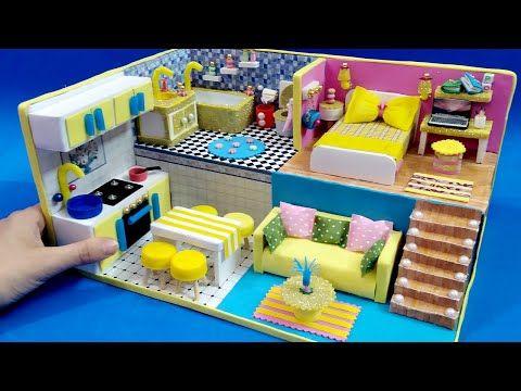 منزل مصغر كامل بالكرتون وورق الفوم غرفة نوم و معيشه ومطبخ وحمام Diy Miniature Cardboard House 6 Youtube Home Toddler Bed Home Decor