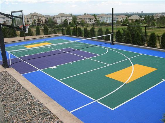 Multi purpose sport court basketball volleyball hockey for Backyard multi sport court