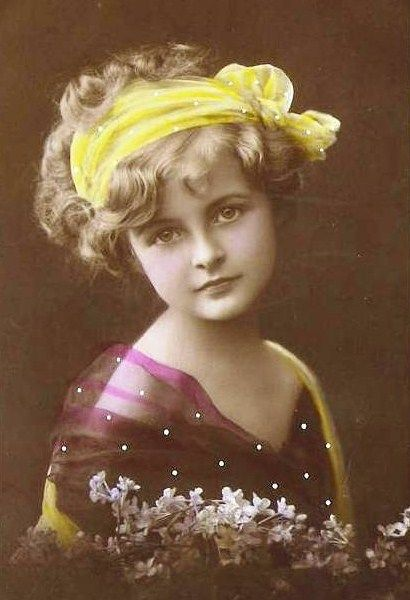 vintage girl tinted postcard
