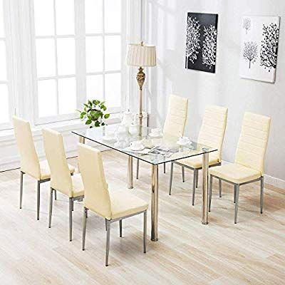 Amazon Com Mecor 7 Piece Kitchen Dining Set Glass Top Table With 6 Leather Chairs Brea Kitchen Table Settings Glass Dining Table Set Dining Table In Kitchen
