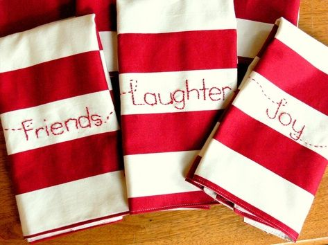 Love these ladies!! Christmas napkins.. Might ry this free hand sewing