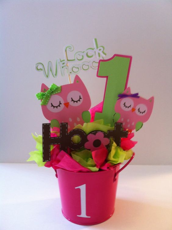 Owl Theme Centerpiece Toppers Set by Getcreativewithkay on Etsy, $17.00