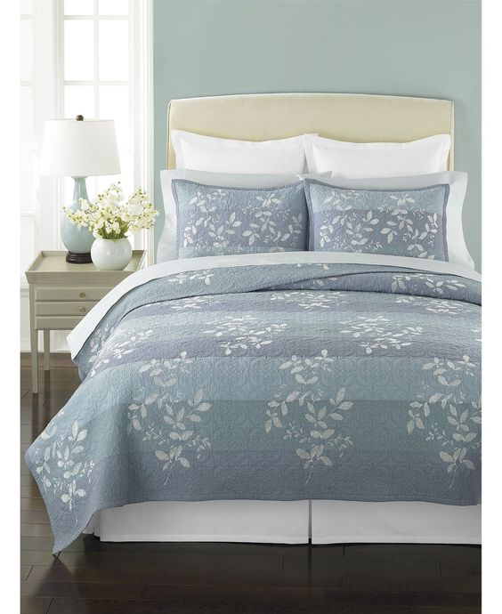 Martha Stewart Collection Bedding Silhouette Stripe Quilts Quilts Bedspreads Bed Bath