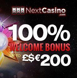 Use our Next Casino bonus codes for a fantastic 100% matched 1st deposit bonus offer.