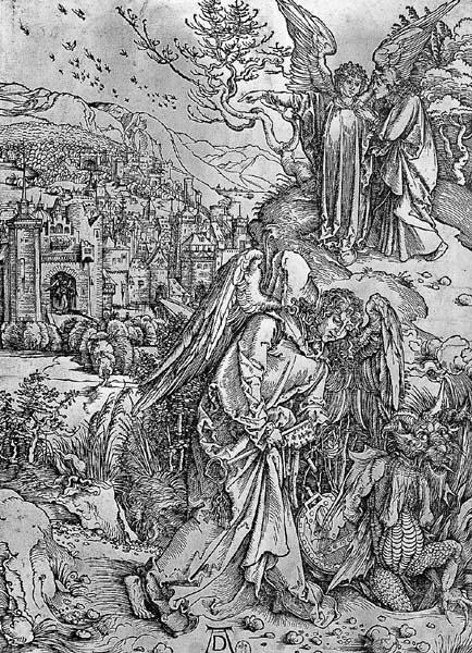 """...""""Et il a enchaîna la Bête pour mille ans """" - Apocalypse : l'ange tenant la clé de l'abîme - Bois Nuremberg, 1511     Albrecht Dürer, Paris, BNF, Estampes, Ca 4 b Rés. fol. t. 2, pl. 16 39 x 28 cm """"Et j'ai vu un ange descendre du ciel avec la clé de l'abîme et une grande chaîne dans la main. Il a tenu le dragon, l'antique serpent qui est le diable et le Satan, et il l'a enchaîné pour mille ans. Il l'a jeté dans l'abîme, et il a fermé et scellé par dessus, qu'il n'égare plus les nations…"""