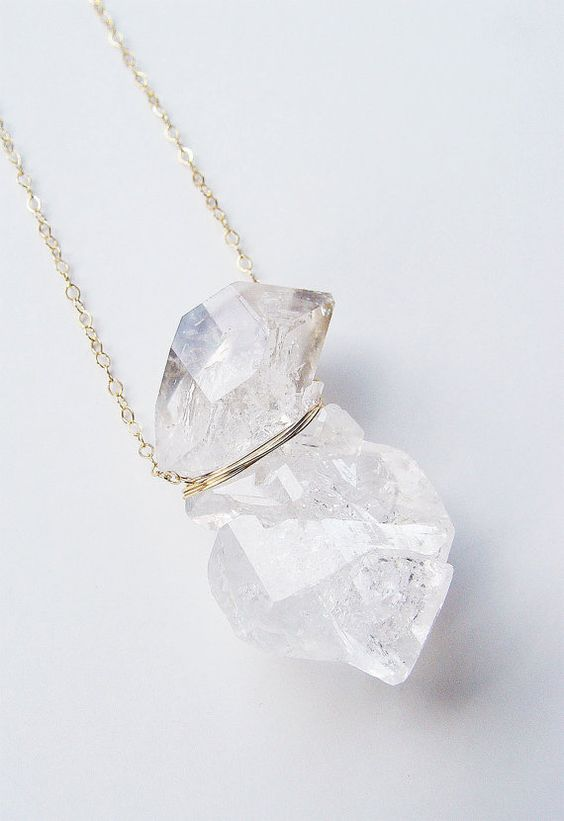 Double herkimer diamond necklace ooak by friedasophie white double herkimer diamond necklace ooak by friedasophie aloadofball Gallery