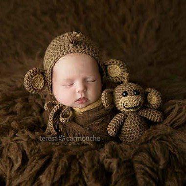 Crochet Baby Monkey Bonnet Hat Beanie Stuffie Stuffed Animal Set Infant Newborn Baby Toddler Handmade Photography Photo Prop Baby Shower Gift Present