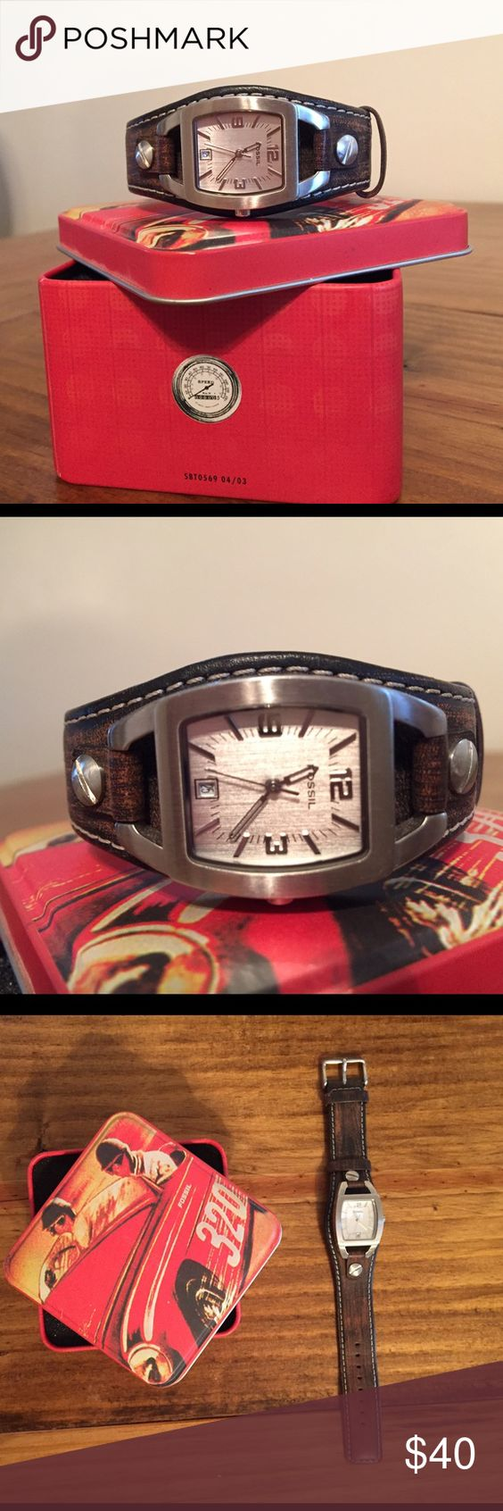 Fossil Watch Like new Women's Fossil Watch. Comes in original tin. Needs battery. Fossil Accessories Watches