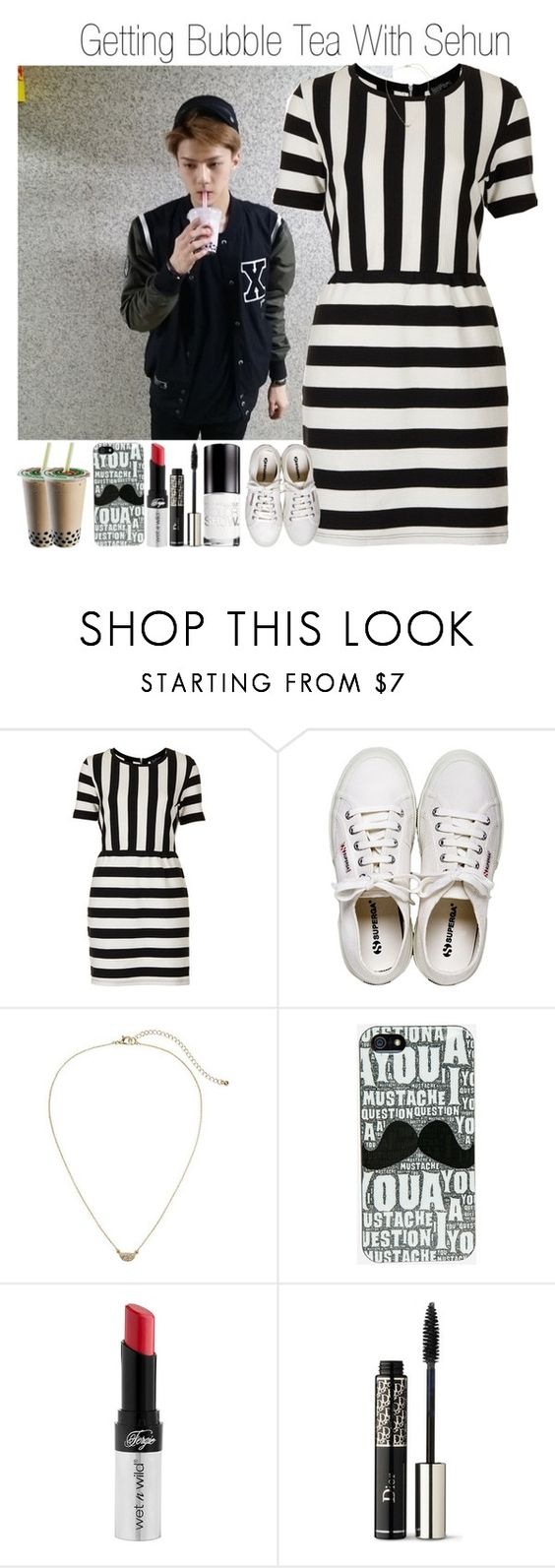 """""""Getting Bubble Tea With Sehun"""" by ana-styles-mahone ❤ liked on Polyvore featuring Topshop, Henri Bendel, Gap, Wet n Wild, Christian Dior, Maybelline, kpop, EXO and Sehun"""