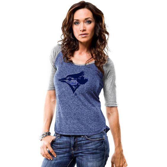 MLB Toronto Blue Jays Majestic Women's Athletic Greatness Raglan Half Sleeve T-Shirt - Royal