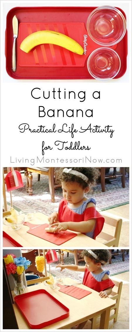 YouTube video and resources for preparing a Montessori banana cutting practical life activity for toddlers; part of the 31 Days of Kids' Kitchen Activities series; post includes the permanent Montessori Monday collection