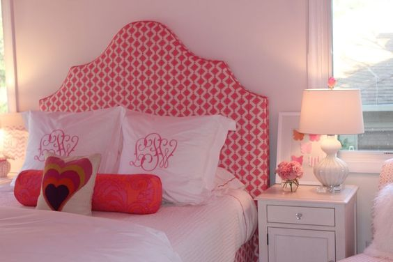 Beautiful upholstered headboard in this gorgeous @Julie Rootes designed #biggirlroom