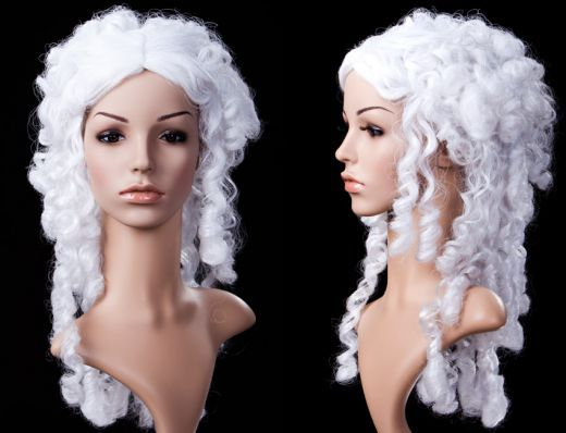 €118,00 EUR. Hair color: white. The hair was dressed to an elegant and playful hairstyle. Artificial hair treated with colored spray.