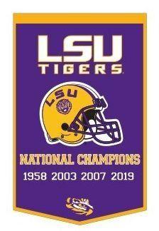 Louisiana State Lsu Tigers 2019 2020 Ncaa Football National Champions Dynasty Banner 24 Lsu Tigers Lsu Lsu Tigers Football