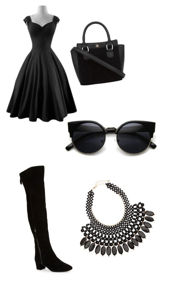 """""""Stylish Black Set"""" by jrhalcrow ❤ liked on Polyvore featuring Nine West, H&M, women's clothing, women, female, woman, misses and juniors"""