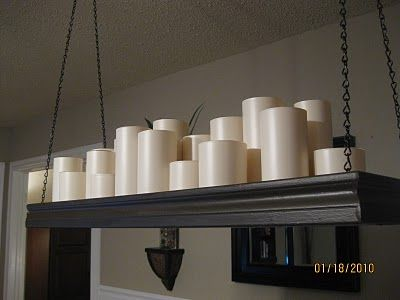 Pottery Barn Knockoff of a Candle Chandy using Walmart Glasses & Waxy Contact Paper!