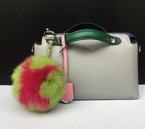 "Ready to ship Monogram Letter ""X"" fox fur letter bag charm pom pom keyring fur bag accessory Neon Green Hot Pink"