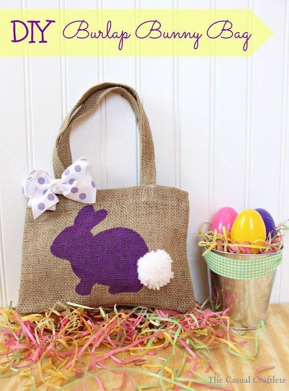 DIY Burlap Bunny Bag - The Casual Craftlete