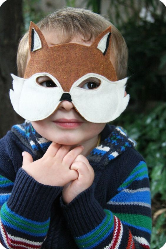 DIY Mr. Fox Mask by feelincrafty Easily up-sized for adults.  Made w/glue instead of sewing makes for a quick, fun halloween mask for us grown-ups.  :-)